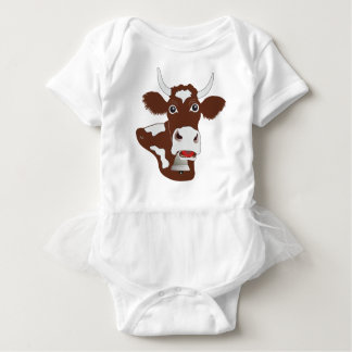 sweet of simmenthaler cow baby Body with Tutu Baby Bodysuit