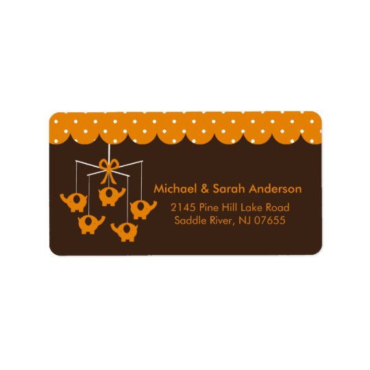 Sweet Orange Elephant Mobile Address Label
