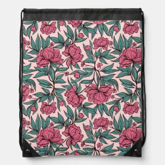 Sweet orange pink floral hand drawn illustration drawstring bag
