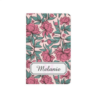 Sweet orange pink floral hand drawn illustration journal