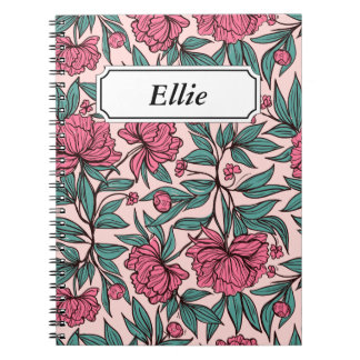 Sweet orange pink floral hand drawn illustration notebooks