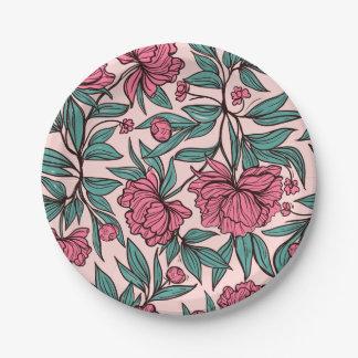 Sweet orange pink floral hand drawn illustration paper plate