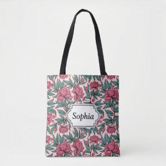 Sweet orange pink floral hand drawn illustration tote bag