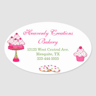 Sweet Oval Cupcake Bakery Stickers