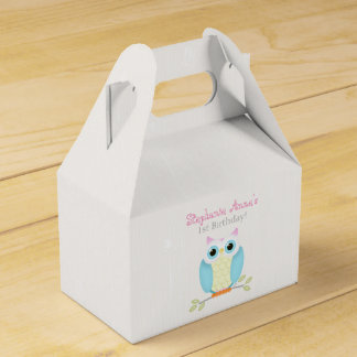 Sweet Owl Birthday Party Favor Boxes