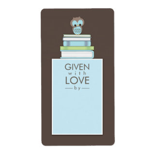 Sweet Owl Bookplate Gift Label Blue | Brown