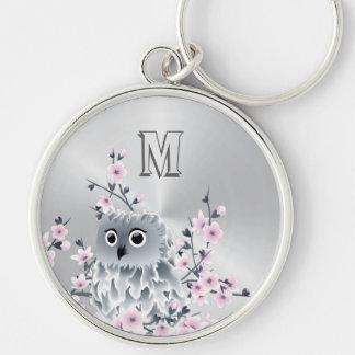 Sweet Owl Pink Silver Keychain