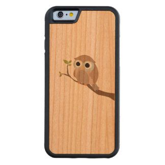 sweet owl prints on on wood carved cherry iPhone 6 bumper case