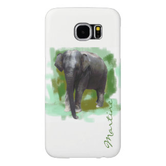 Sweet Painted Little Elephant with Custom Name Samsung Galaxy S6 Cases