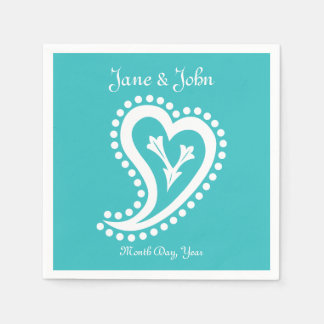 Sweet Paisley Hearts in Turquoise Napkins