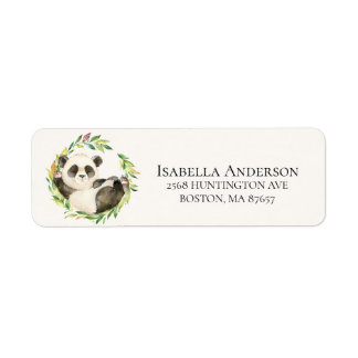 Sweet Panda Bear Baby Shower Address Label
