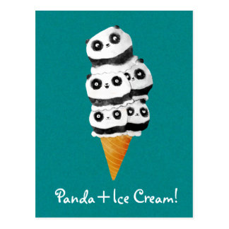 Sweet Panda Bear Ice Cream Cone Postcard