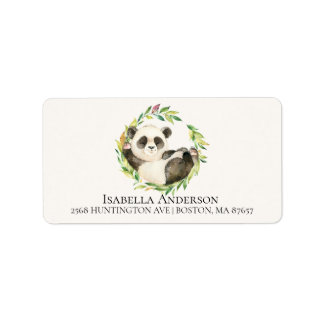 Sweet Panda Bear Neutral Baby Shower Address Label