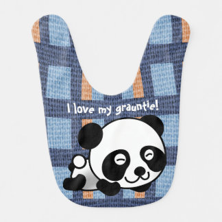 "Sweet Panda, Plaid & ""I Love My Grauntie!"" Bib"
