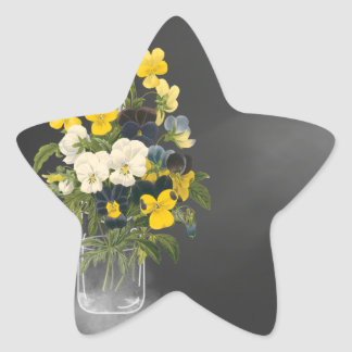 Sweet Pansy in Masons Jar Star Sticker