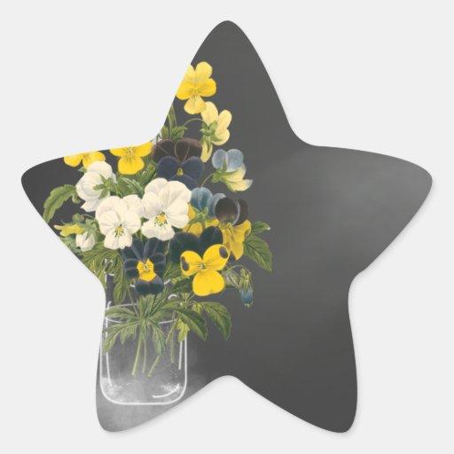 Sweet Pansy in Masons Jar Star Sticker