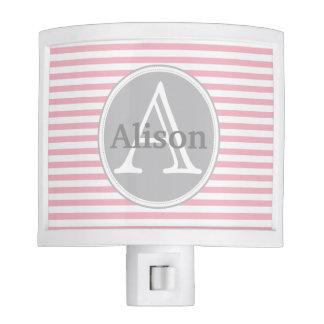 Sweet Pastel Pink and White Stripes Monogram Nite Lite
