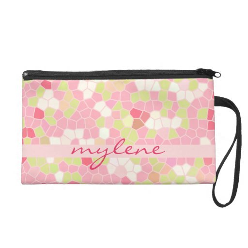 Sweet Pastel Pink Green Abstract Pretty Mosaic Wristlets