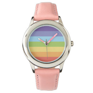 Sweet Pastel rainbow stripes pattern Wrist Watches