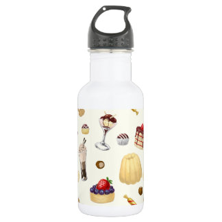 Sweet pattern with various desserts. 532 ml water bottle