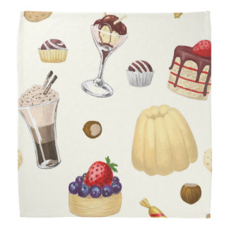 Sweet pattern with various desserts. bandana