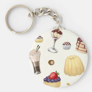 Sweet pattern with various desserts. basic round button keychain