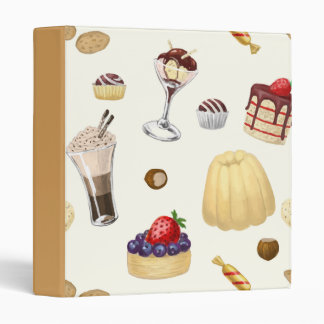 Sweet pattern with various desserts. binders
