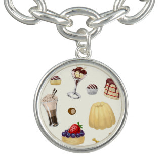 Sweet pattern with various desserts. charm bracelet