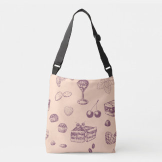 Sweet pattern with various desserts. crossbody bag