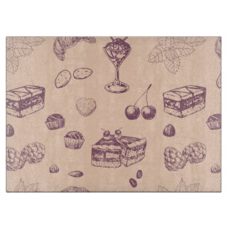 Sweet pattern with various desserts. cutting board