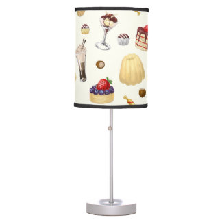 Sweet pattern with various desserts. desk lamps