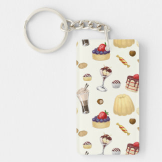 Sweet pattern with various desserts. Double-Sided rectangular acrylic keychain