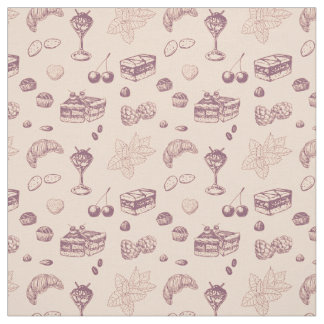Sweet pattern with various desserts. fabric