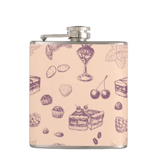 Sweet pattern with various desserts. hip flask