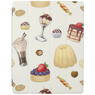 Sweet pattern with various desserts. iPad cover