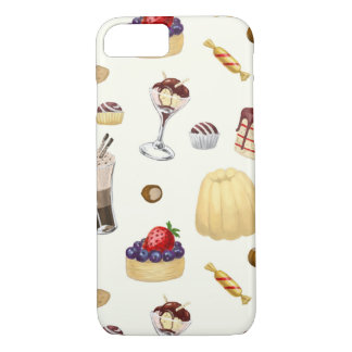Sweet pattern with various desserts. iPhone 8/7 case