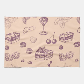 Sweet pattern with various desserts. kitchen towel