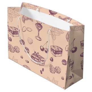 Sweet pattern with various desserts. large gift bag