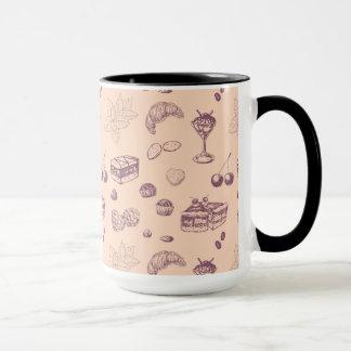Sweet pattern with various desserts. mug