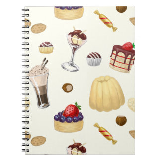 Sweet pattern with various desserts. notebook