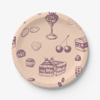 Sweet pattern with various desserts. paper plate