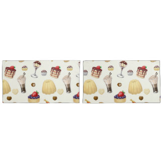 Sweet pattern with various desserts. pillowcase