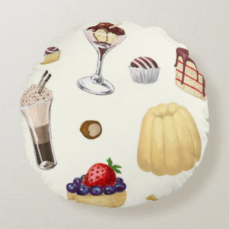 Sweet pattern with various desserts. round pillow