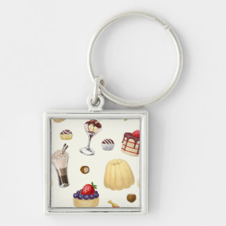 Sweet pattern with various desserts. Silver-Colored square keychain
