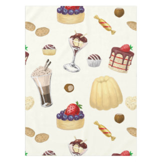 Sweet pattern with various desserts. tablecloth