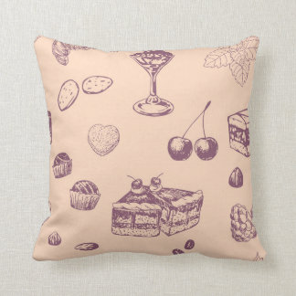 Sweet pattern with various desserts. throw pillow