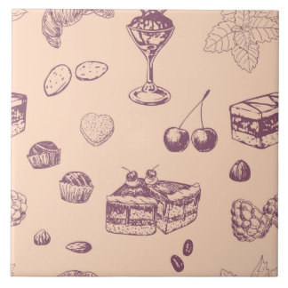 Sweet pattern with various desserts. tile
