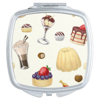 Sweet pattern with various desserts. travel mirror