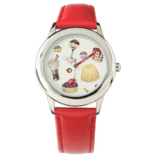 Sweet pattern with various desserts. wrist watches