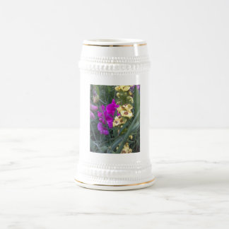 Sweet Pea and Mullein Flower Beer Stein